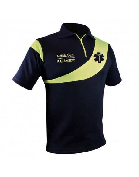 Polo Ambulance Evolution Marine Jaune Fluo