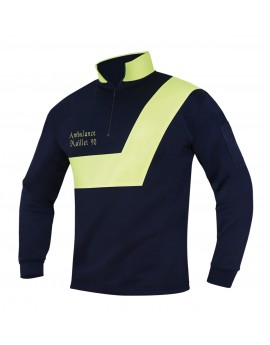 SWEAT AMBULANCE MARINE/JAUNE FLUO - DESTOCKAGE ANCIEN MODELE