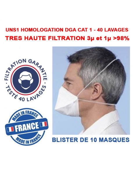 MASQUE UNS1 LAVABLE HOMOLOGUE DGA CAT1 - 40 LAVAGES