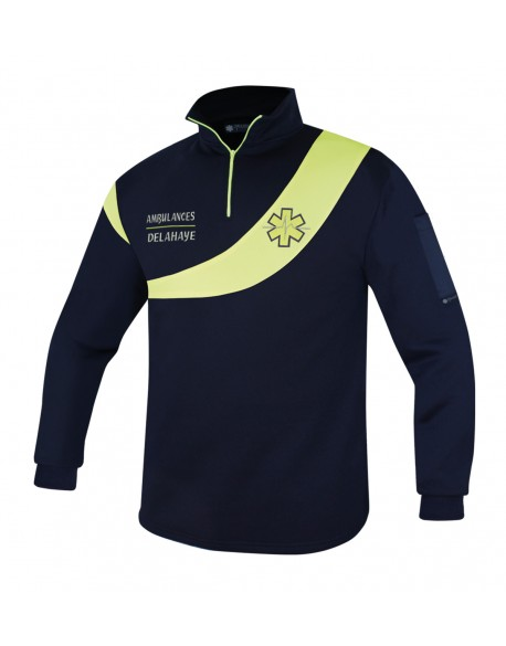 Sweat AMBULANCE Évolution Marine/Jaune fluo