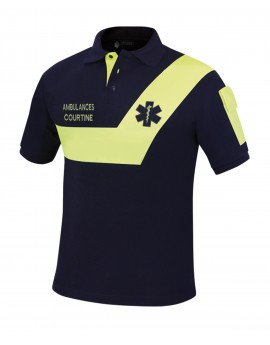 Polo AMBULANCE Origin' Marine/Jaune fluo - A110600