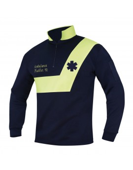 Sweat AMBULANCE Origin' Marine/Jaune fluo - A119475